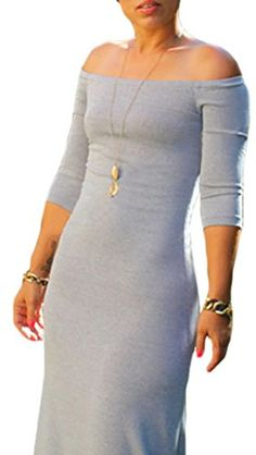 PEGGYNCO Womens Grey Quarter Sleeves Off Shoulder Cotton Maxi Dress -- Find out more about the great product at the image link. Casual Dresses, Fashion Dresses, Summer Dresses, Winter Coats Women, Outfit Goals, Sexy Outfits, Beautiful Dresses, Bodycon Dress, Clothes