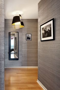 Contemporary Hallway with Norwall Textures 4 Wallpaper Pattern NT33705, Oak - Butterscotch 5 in. Solid Hardwood Wide Plank