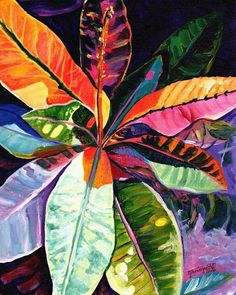 tropical leaves original acrylic painting from kauai hawaii hawaiian paintings colorful croton leaves leaf interior decor kauai fine art Plant Painting, Plant Art, Painting Leaves Acrylic, Blue Painting, Painting Canvas, Ink Painting, Acrylic Paintings, Painting Tips, Plant Decor