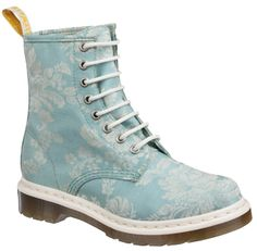 Blue floral Doc Martens. Who doesn't love a little damask on the foot? #shoes #style #docmartens