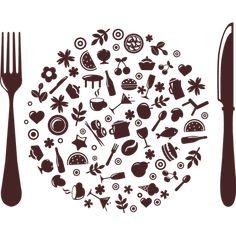 Pegatina decorativa en vinilo autoadhesivo con dibujo de plato y cubiertos para cocina o nevera