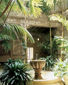 Carved stonework in the atrium, depicting frolicking cherubim, Bacchus, knights and monks. Outdoor Spaces, Outdoor Living, Outdoor Ideas, Fresco, Colonial Garden, British Colonial, Moorish, Garden Spaces, Atrium