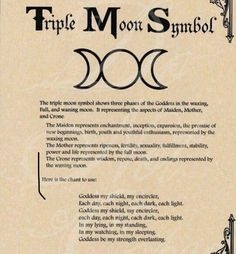 Book of Shadows page - Triple Moon Symbol & Goddess Chant Graphic voice for moon symbols Moon Symbols, Pagan Symbols, Moon Symbol Meaning, Moon Glyphs, Celtic Paganism, Mystic Symbols, Goddess Symbols, Spiritual Symbols, Wiccan Spell Book