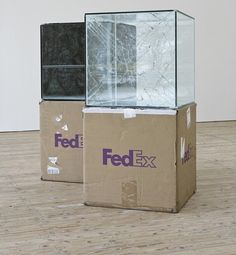 Artist Walead Beshty Shipped Glass Boxes Inside FedEx Boxes to Produce Shattered Sculptures Glass Cube, Glass Boxes, Contemporary Sculpture, Contemporary Art, Colossal Art, Shattered Glass, Land Art, Art Object, Conceptual Art