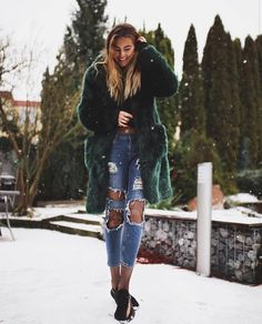 Coat: tumblr fur big fur green denim jeans blue jeans ripped jeans tights net tights fishnet tights