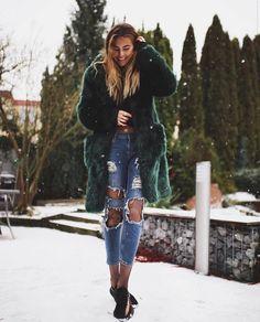 Coat: tumblr fur big fur green denim jeans blue jeans ripped jeans tights net tights fishnet tights
