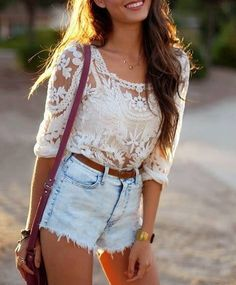 A little lace never killed nobody! In fact, it's really super cute and it provides a nice vintage vibe for any outfit.  The way the lace top is paired with the high waisted denim shorts is so perfect.