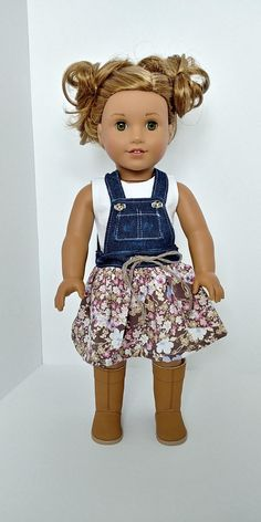 Jean dress overalls. 18 inch doll clothing. American girl.18 inch doll clothes .T shirt and Jean dress overalls
