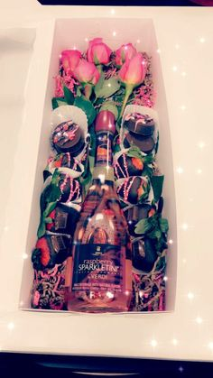 Candy, flowers and wine gift set idea