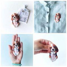 Купить Авторская брошь - бигль, собачка, карманный щенок, щеночек, карманный друг, зверята, брошь