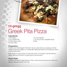 Explore a new kind of pizza with this Greek Pita Pizza that includes Greek olives, feta cheese and fresh spinach. #FoodieFriday