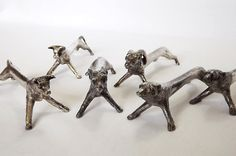 Six French silver plated knife rests  2 bulls 2 goats and 2 bears by MaisonMaudie, $65.00