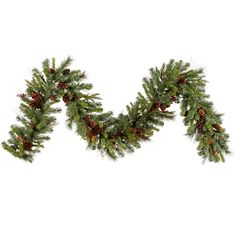 "9' x 14"" Cibola Mix Berry Pine Artificial Christmas Garland - Unlit"