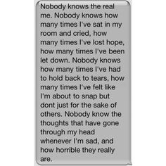 Guys I can't help it. I hate feelings. Why do they exist? I get so frustrated. With myself and other people. I feel like a second option. I feel like I'm not good enough. I get so mad at little things I do. I can't help it. I hate school. I hate it. Nobody realizes how much things affect me because I always seem happy. Oh well.