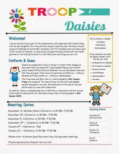 girl scout letter to parents Daisy Girl Scout Daisy Petals, Daisy Girl Scouts, Girl Scout Daisies, Girl Scout Leader, Girl Scout Troop, Scout Mom, Girl Scout Songs, Girl Scout Daisy Activities, Girl Scout Crafts