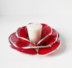 Red Waterlily. Candle Holder. Handmade Stained by jacquiesummer