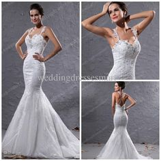 Discount 2014 Sexy Mermaid Bling Wedding Dresses Shiny Beaded Appliques Sequins Cross Straps Court Train Church Garden Bridal Gowns Custom Made Hot Online with $172.31/Piece | DHgate