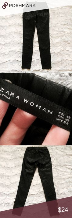 Zara Woman black vegan leather elastic waist pants Make an offer! Functional zippers at bottom of legs. No trades. Bundle and save - I'm a fast shipper! Zara Pants Skinny