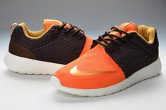 Heren Goedkoop Nike Roshe Run Oranje Zwart/Wit Originele