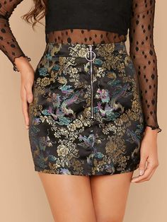 To find out about the O-ring Zip Up Jacquard Skirt at SHEIN, part of our latest Skirts ready to shop online today! Satin Cami Dress, Satin Skirt, Fashion News, Fashion Outfits, Women's Fashion, Ring Der O, Glamour, Body Con Skirt, Scrappy Quilts