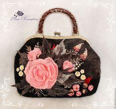 Купить Сумка Розали валяная из шерсти - цветочный, сумка валяная, сумка ручной работы