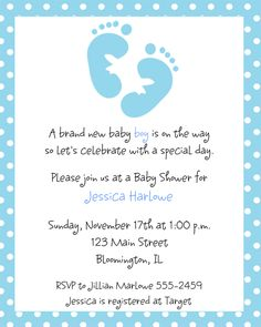 baby shower invitations for boys | blue footprints baby shower invitations invitations are a great way to ...