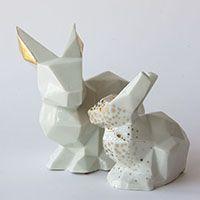 Lise Lefebvre porcelain faceted bunnies