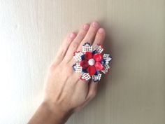 Fourth of July Repurposed Vintage Flower Rose by ZiLLAsQuEeN, $28.00