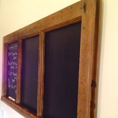 Old wooden window frame converted to our kitchen message board.