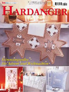 """This Special Christmas Hardanger magazine is packed with stunning holiday projects including an Advent calendar and wreath.  The projects include table toppers, centerpieces, ornaments, candle wraps, and curtains.   The magazine is full size 8.5"""" x 11"""" with 31 pages.  The text is in German, but a stitcher with some experience in Hardanger embroidery should be able to use the photos and diagrams to complete the projects."""