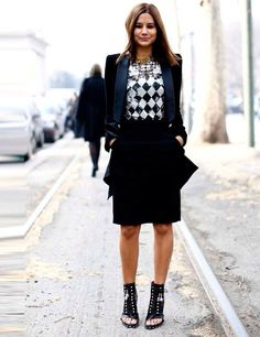 Christine Centenera - London FW Fall 2013. Monochrome geometric top + black skirt & jacket