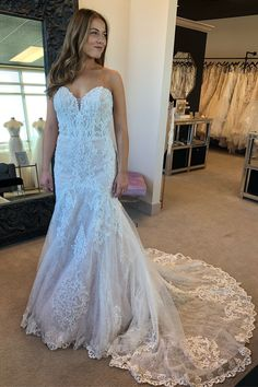 ee85687ec5 Strapless Mermaid White Lace Long Bridal Gown with Train