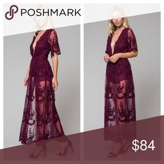 Burgundy Lace Maxi Dress Honey Punch Boho Maxi Dress With Plunge Neck In Romantic Lace. Honey Punch Dresses Maxi