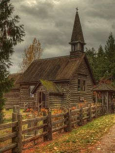 Old log church - St.Anne's, Parksville, Vancouver Island.