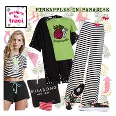 """""""Pineapples in Paradise #TShirt for #Summer"""" by rvgems ❤ liked on Polyvore featuring Billabong, H&M, Vans, Chan Luu, ABS by Allen Schwartz and Modern amusement"""