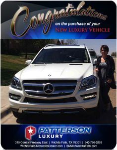Congratulations to Carey Peavey with her 2014 Mercedes-Benz GL - From Elizabeth Speer at Patterson Luxury Luxury Vehicle, Luxury Cars, Mercedes Benz Gl, New Bmw, Congratulations, Vehicles, Rolling Stock, Fancy Cars, Vehicle