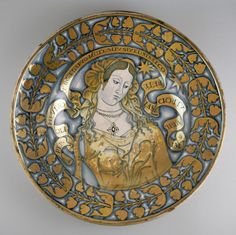 Lustered dish with a female figure