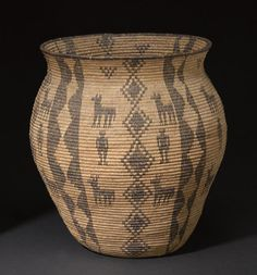 An Apache olla  Finely woven, alternating positive and negative columns of stacked diamonds with quadrupeds and human figures.  height 15in, diameter 13in