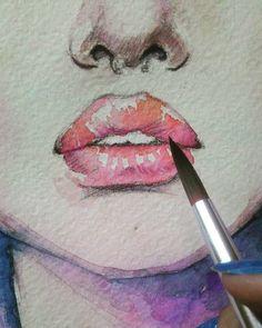 #process #watercolor #lips #painting #процесс #акварель #губы #рисунок