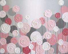 Pink and Grey Textured Flower Nursery Art by MurrayDesignShop