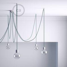 Kit de décentralisation, crochet au plafond blanc pour câble électrique textile avec arrêt.