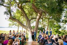 Tuscany-inspired Rustic Ceremony Under Large Oak Tree | Lavender + Herb Lowndes Grove Wedding by Charleston wedding photographer Dana Cubbage