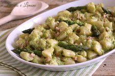 Gnocchetti with asparagus cream and asparagus sauce da Food Therapy, Polenta, Gnocchi, Guacamole, Potato Salad, Vegetables, Prosciutto Cotto, Ethnic Recipes, Pasta