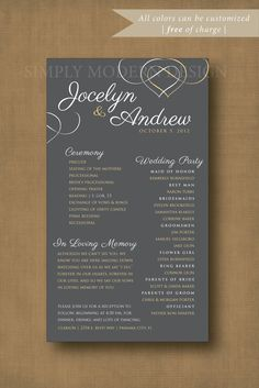 Elegant Wedding Ceremony Program Signage Reception Party Bridal Order Of Events PRINTABLE Or PRINTED PROGRAMS