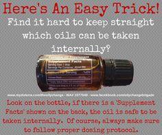 Keeping straight which doTERRA oils can be taken internally. http://mydoterra.com/dreamjob
