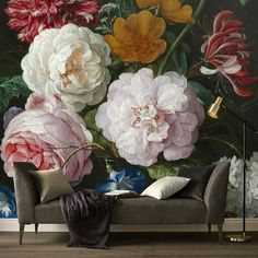 Brayden Studio Bring a piece of art into your home with this beautiful wall mural. Jazz up your room in the blink of an eye! Botanical Wallpaper, Flower Wallpaper, Vintage Floral Wallpapers, Flower Mural, Feminine Decor, Buy Wallpaper Online, Cosy Room, Mural Wall Art, Beautiful Wall