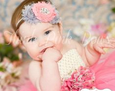 Baby headband Newborn HeadbandChristening by ThinkPinkBows on Etsy