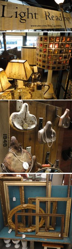 Love the Bicycle Seats as Jewelry Display   Buttons in salt shaker display.