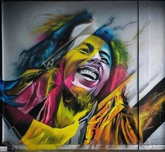 """Graffiti is beautiful; like a brick in the face of a cop. Street Wall Art, Street Mural, Urban Street Art, Street Art Graffiti, Graffiti Artwork, Mural Art, Murals, Bob Marley Art, Street Art Photography"