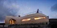 Holz Außenverkleidung und ovale oder asymmetrische Fenster